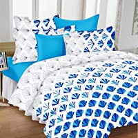 Ahmedabad Cotton Comfort Cotton Bedsheet with 2 Pillow Covers - King Size, White and Blue