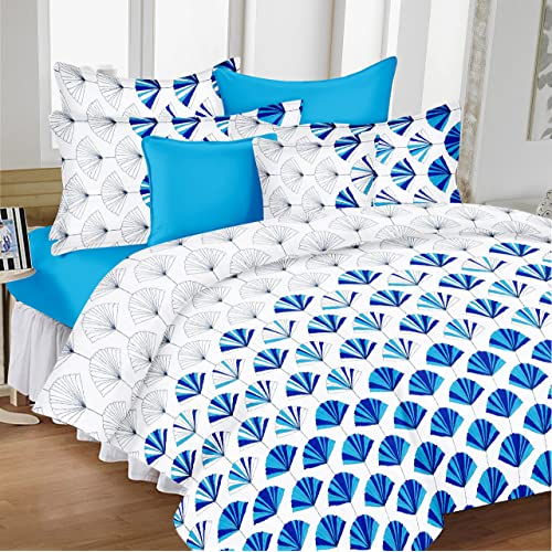 Attractive Ahmedabad Cotton Comfort Cotton Bedsheet With 2 Pillow Covers   King Size,  White And Blue