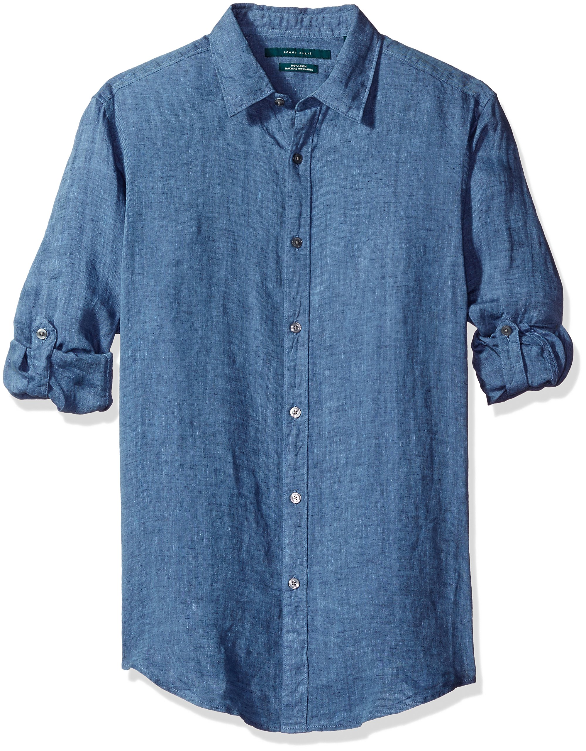 Perry Ellis Men's Rolled Sleeve Solid Linen Shirt, Delft-4BHW3028, Small by Perry Ellis