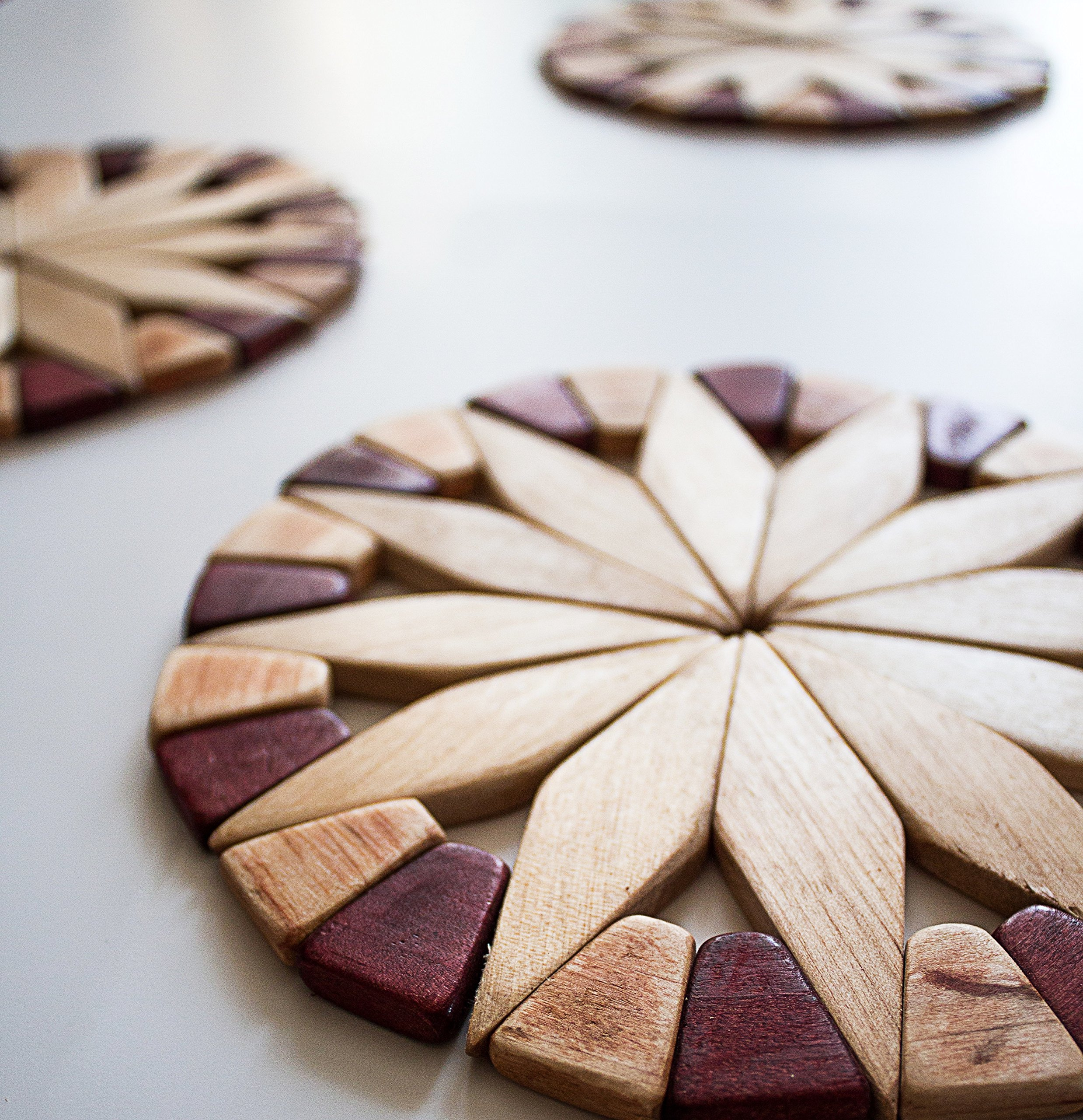 Natural Wood Trivets For Hot Dishes - 2 Eco-friendly, Sturdy and Durable 7'' Kitchen Hot Pads. Handmade Festive Design Table Decor - Perfect Kitchen Gifts Idea. by ECOSALL (Image #4)