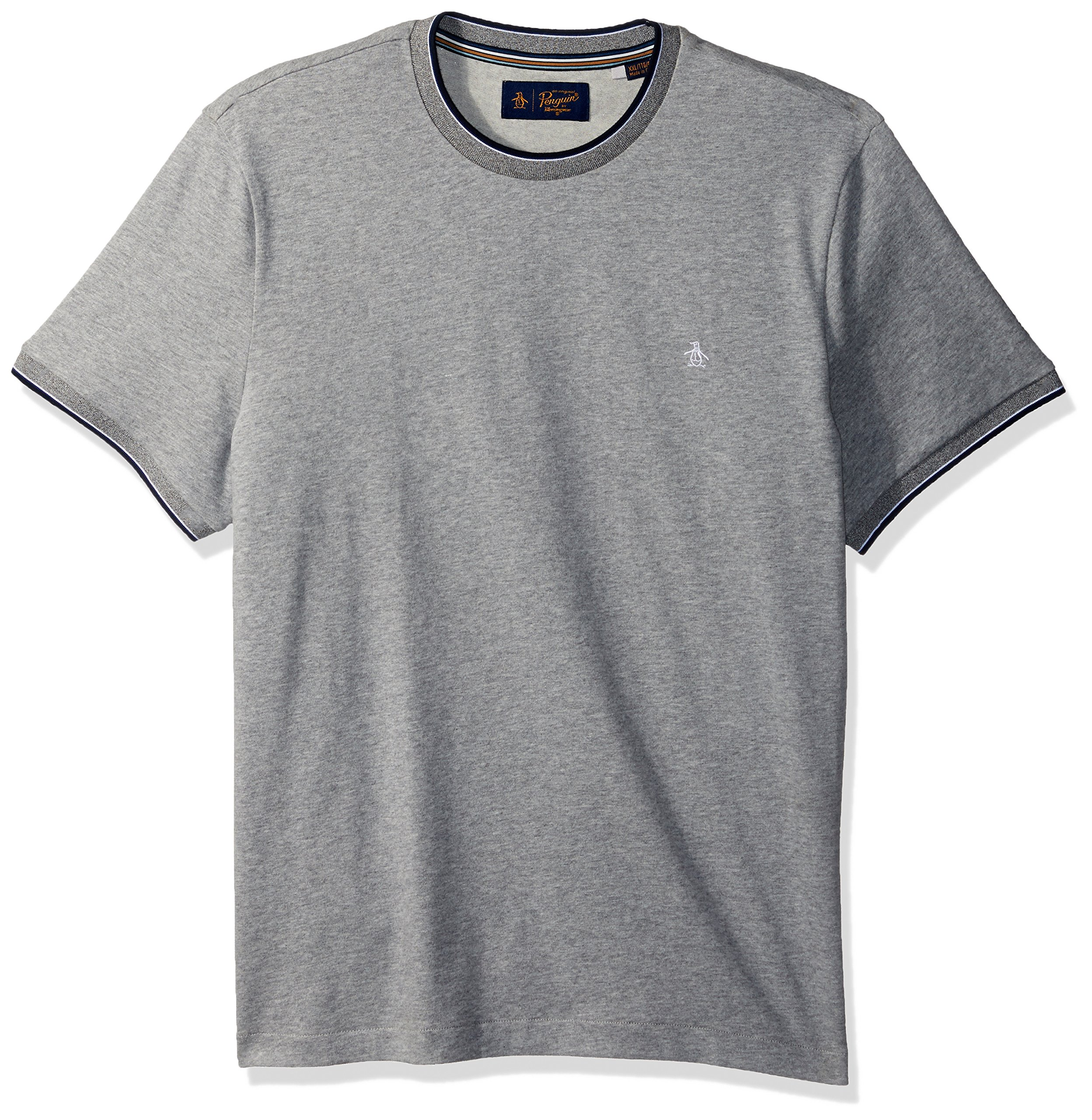Original Penguin Men's Short Sleeve Sueded Tipped Tee, Athletic Grey Heather, Large