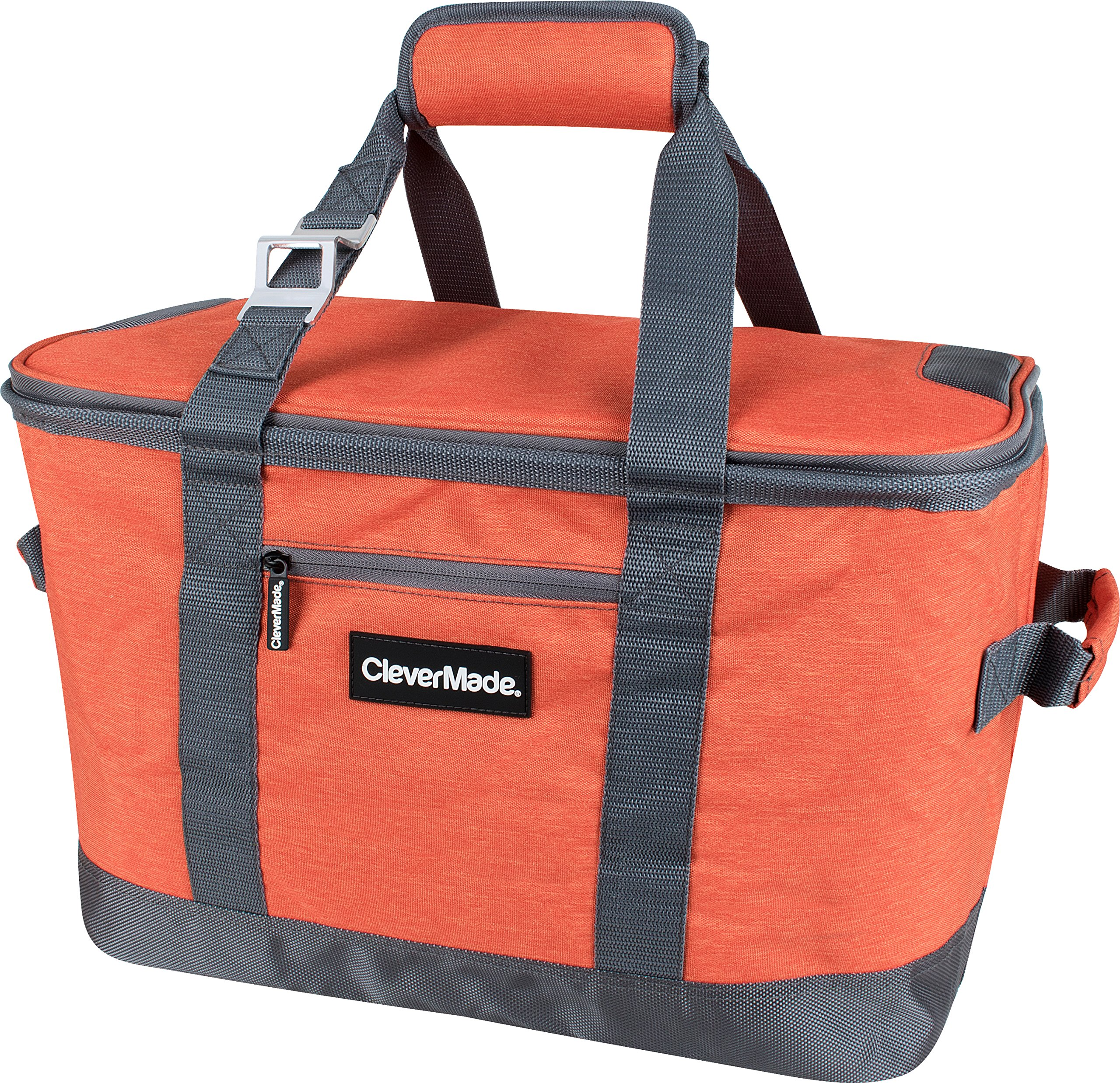 CleverMade SnapBasket 50 Can, Soft-Sided Collapsible Cooler: 30 Liter Insulated Tote Bag, Heathered Orange/Charcoal by CleverMade