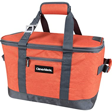 CleverMade SnapBasket 50 Can, Soft-Sided Collapsible Cooler: 30 Liter Insulated Tote Bag, Heathered Orange/Charcoal