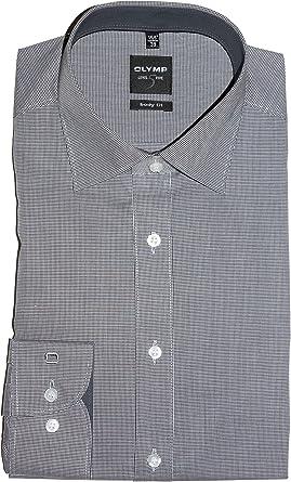 OLYMP Level Five Body fit Camisa de manga larga elástica de cuadros azul oscuro