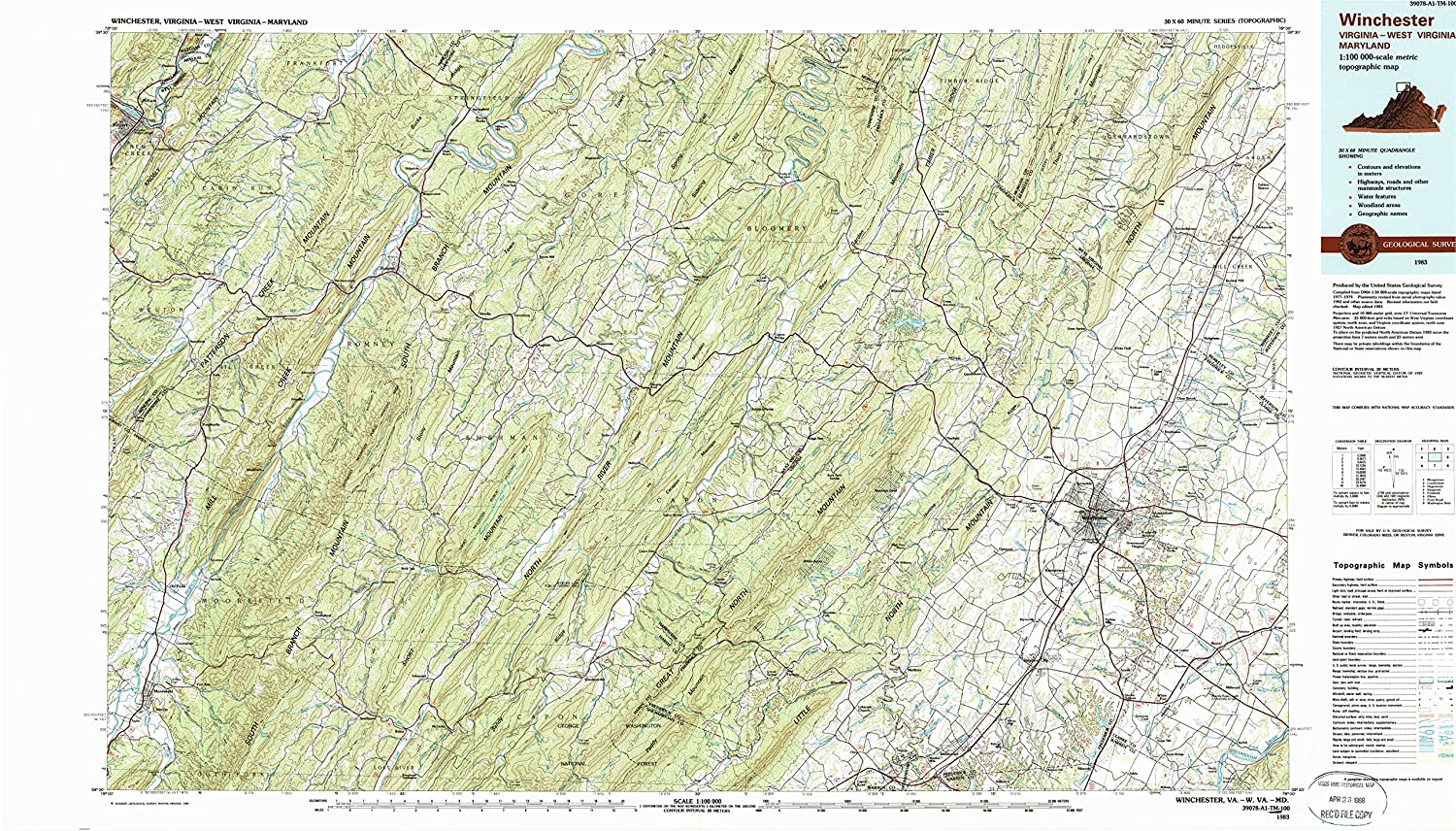 Amazon.com : YellowMaps Winchester VA topo map, 1:100000 ...