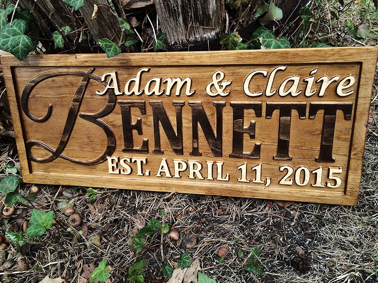 Amazon personalized family name sign personalized wedding amazon personalized family name sign personalized wedding gifts wall art rustic home decor custom carved wooden signs couples 5 year wood anniversary junglespirit Images