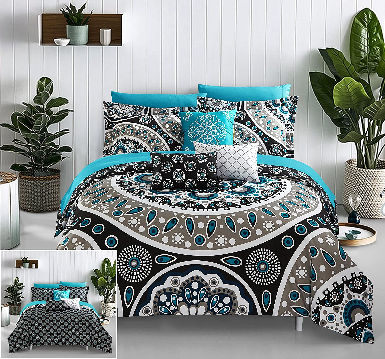 Chic Home Mornington 8 Piece Reversible Comforter Bag Large Scale Paisley Print Contemporary Geometric Pattern Bedding with Sheet Set Decorative Pillows Shams Included, Twin, Black