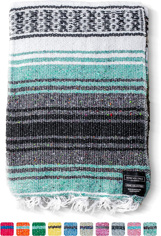 Mexican Blanket Falsa Blanket | Authentic Hand Woven Blanket, Serape, Yoga Blanket | Perfect Beach Blanket, Navajo Blanket, Camping Blanket