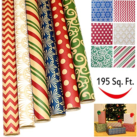 Amazon.com: 6 Rolls Kraft Holiday Gift Wrapping Paper (30\