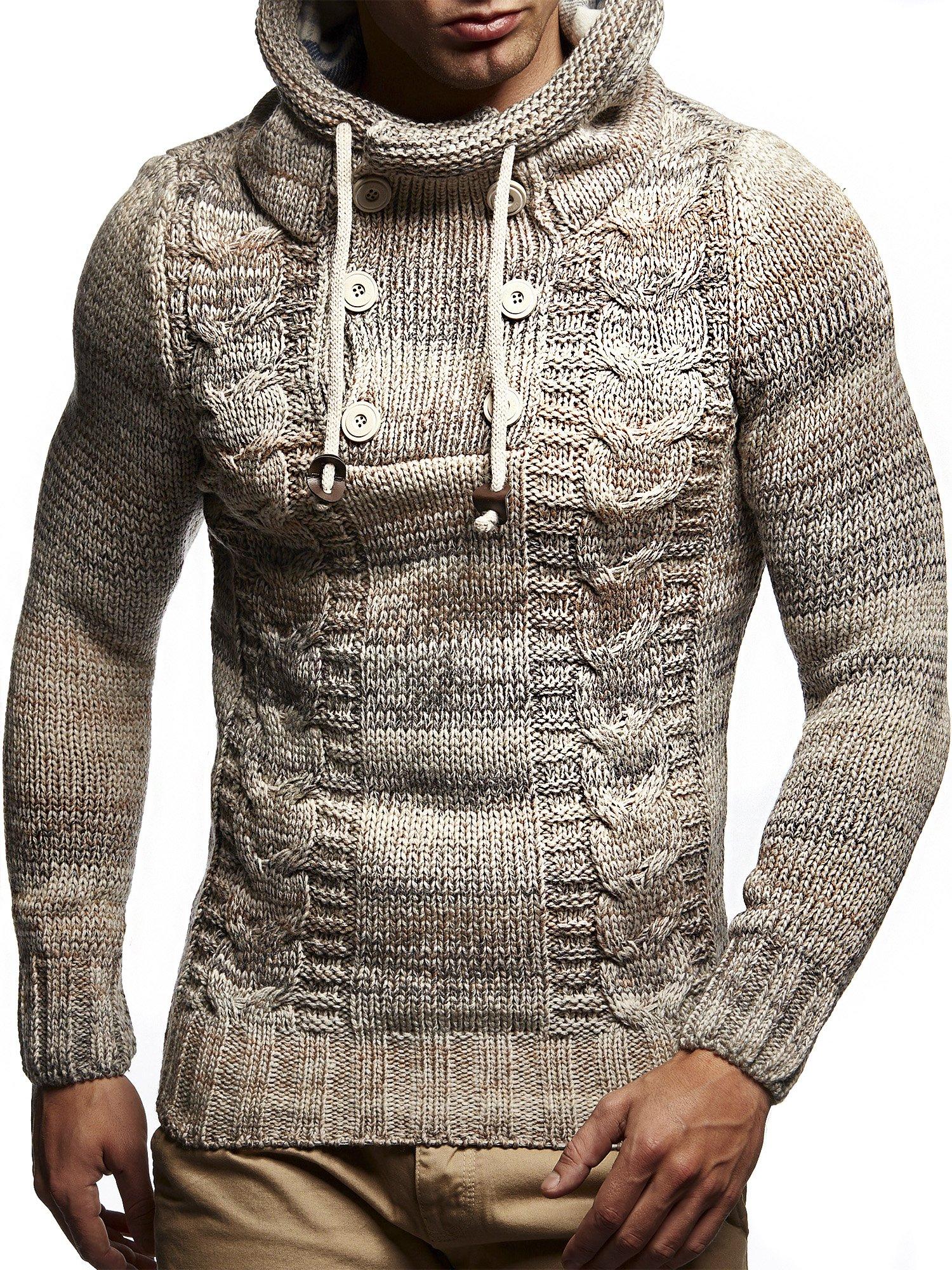 Leif Nelson LN20227 Men's Knitted Pullover,Beige,US-M / EU-L