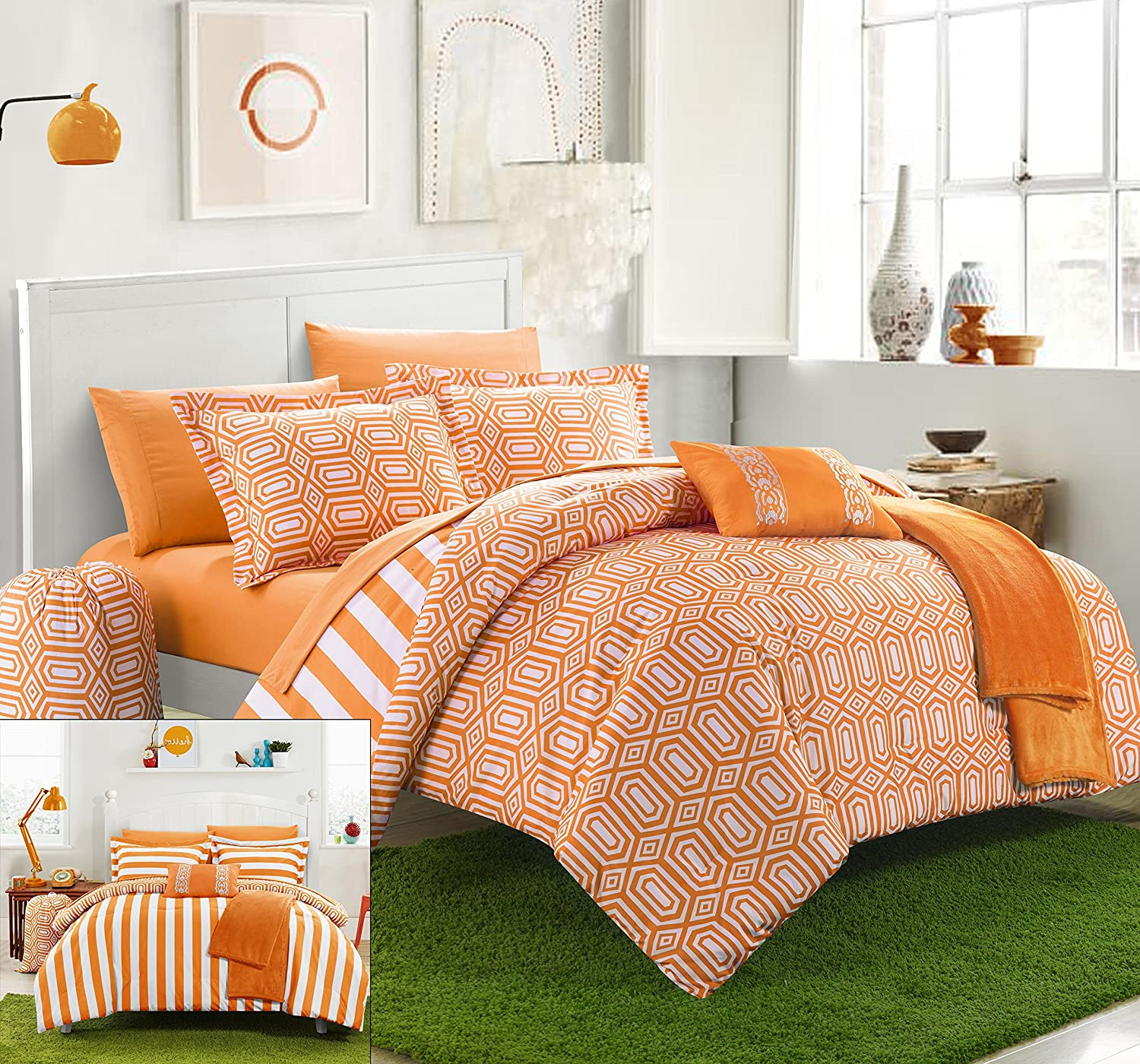 Chic Home 10 Piece Paris Reversible Geometric and Striped Comforter Sheet Set, Full, Orange