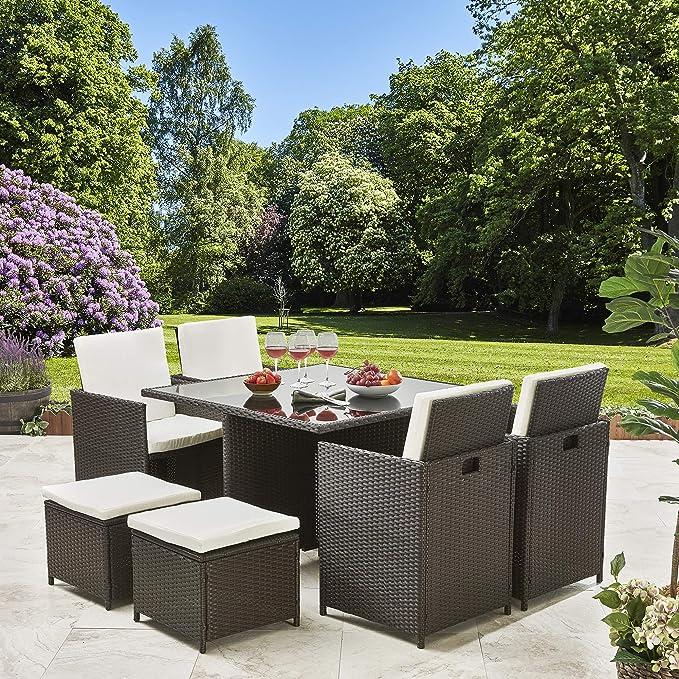 Conjunto de muebles de jardín, ratán, 8 plazas, con sombrilla, marrón: Amazon.es: Jardín