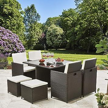 Sunny Seasons Rattan Muebles de jardín Cubo Set 8 plazas al ...