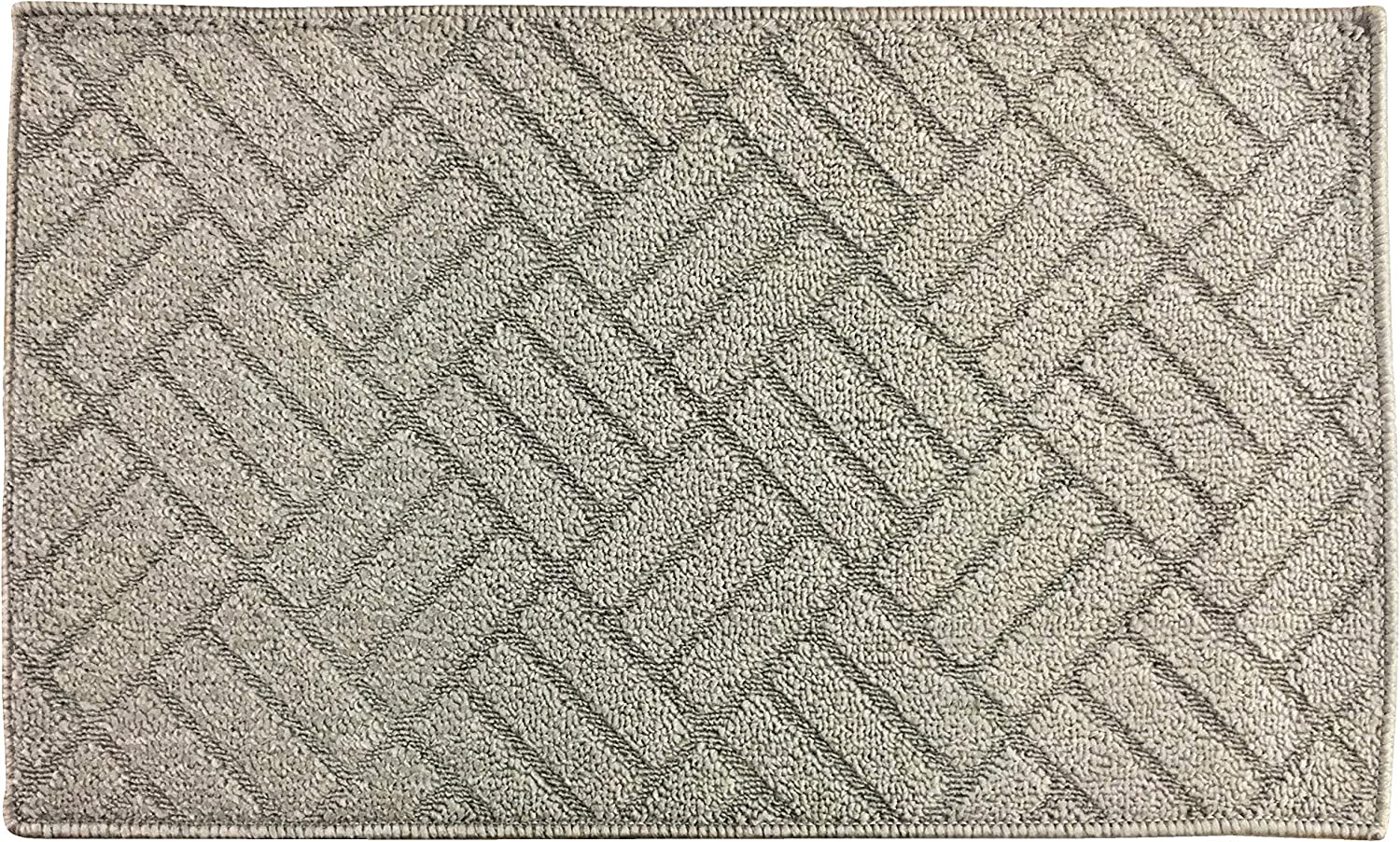 """Fashion Woven Pattern Rug, Non-Skid Home, Kitchen, Floor Mat, Comfortable Standing and Entrance Rug, 17"""" x 28"""" (Silver)"""
