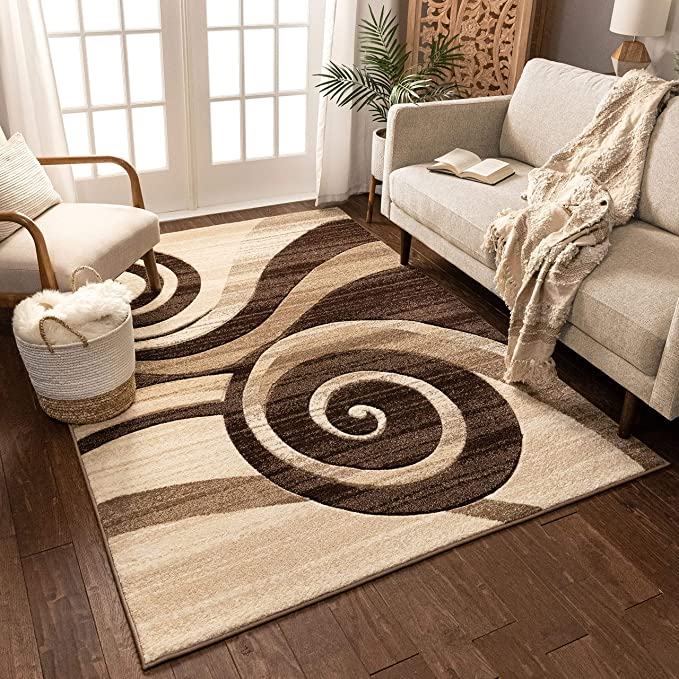 Swirls 3D Carved Modern Luxury Thick Silky Soft Pile Floor Room Rug Beige Brown
