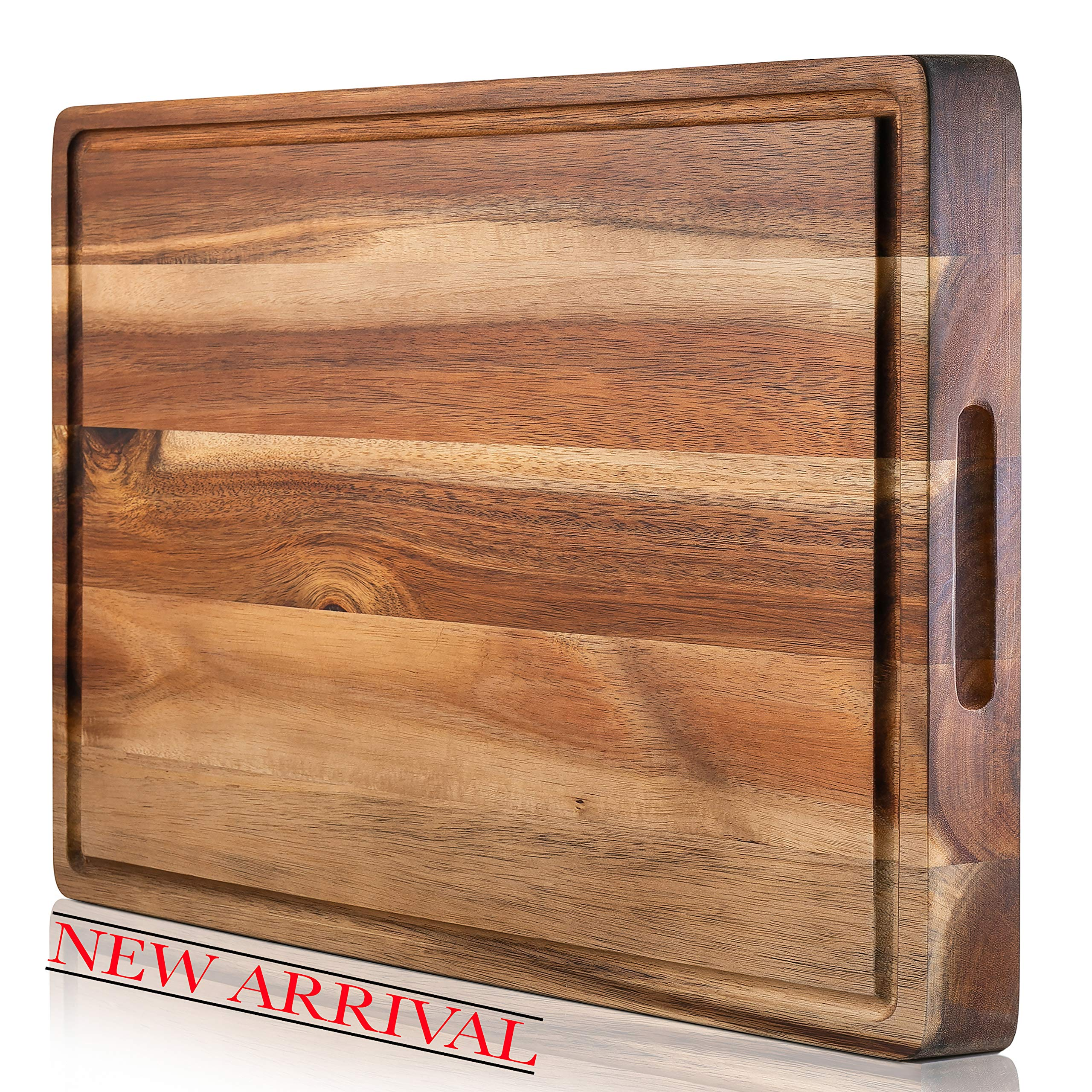 SoulFino EXTRA LARGE Acacia Cutting Board & Butcher Block w/Juice Groove - 17x13x1.4'' Cutting Board