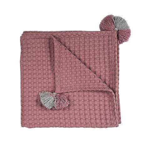 Manta de algodón MoMika | Manta de algodón con borlas lindas | 145 x 145 cm