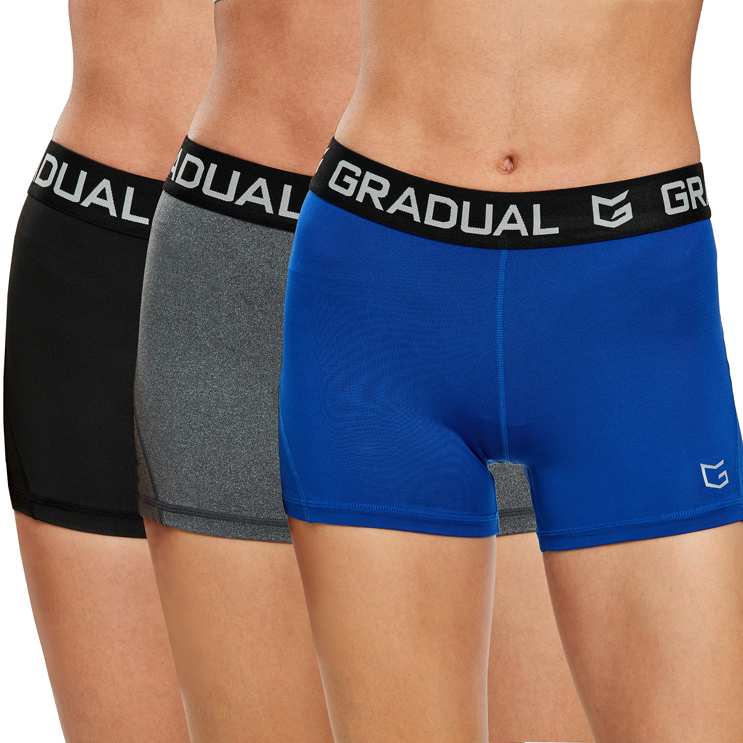 Women's Spandex Compression Volleyball Shorts 3'' Workout Pro Shorts for Women (3 Pack:Black/Blue/Gray, L) by G Gradual