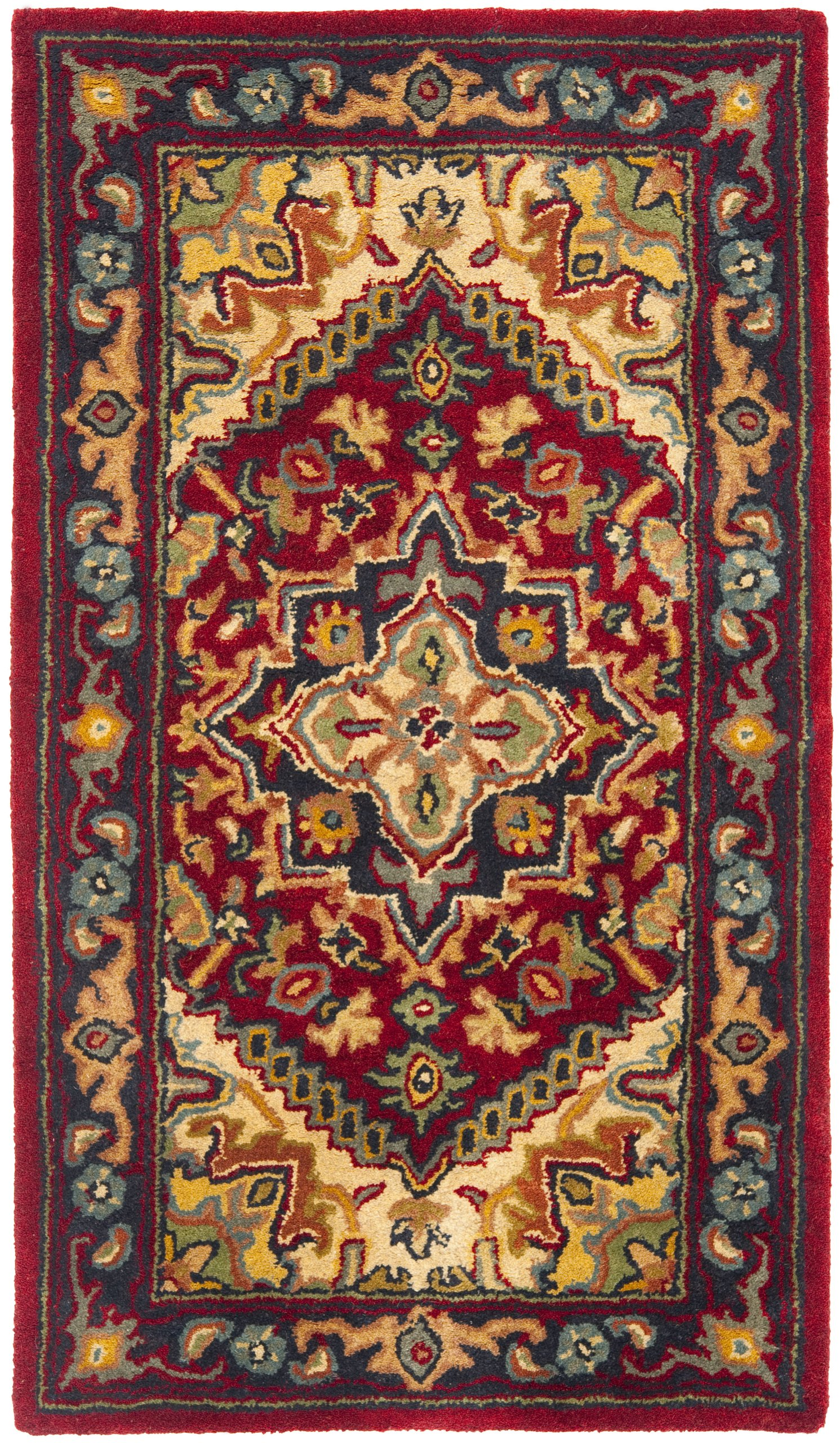 Safavieh Heritage Collection HG625A Handcrafted Traditional Oriental Heriz Medallion Red Wool Area Rug (2'3'' x 4')