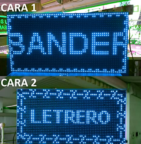 CARTEL LED PROGRAMABLE LETRERO LED PROGRAMABLE PANTALLA LED PROGRAMABLE (64 * 32 cm doble cara, AZUL) ROTULO LED PROGRAMABLE CARTEL ELECTRÓNICO ...