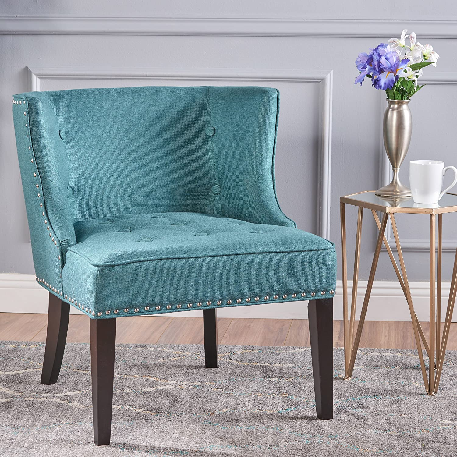 Christopher Knight Home 301256 Aria Occasional Chair Wing Back Nail Head Accents Button Tufted Corded Fabric in Dark Teal
