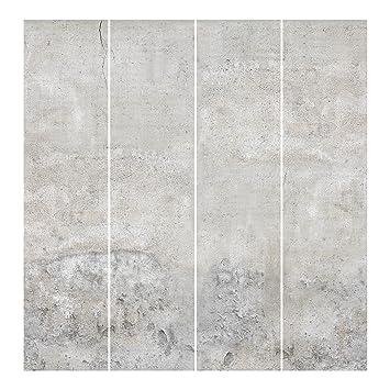 Bilderwelten Schiebegardinen Shabby Betonoptik Deckenhalterung 4X 250 x 60cm