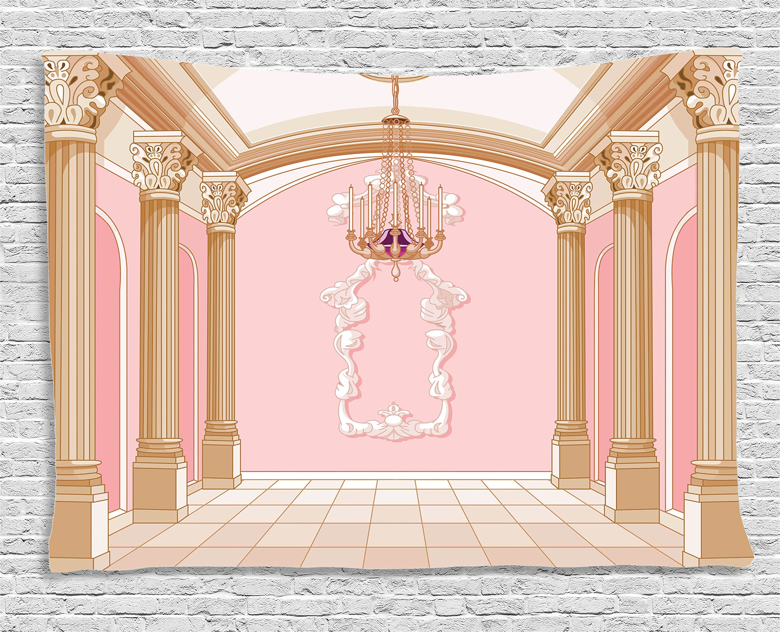 Ambesonne Teen Girls Decor Tapestry, Interior of The Ballroom Magic Castle Chandelier Ceiling Columns Kingdom Print, Wall Hanging for Bedroom Living Room Dorm, 80 W X 60 L, Baby Pink and Cream