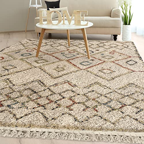 Orian Rugs Bedouin Collection 5002 Tikki Area Rug with Fringe, 9 x 13 , Off-White