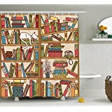Ambesonne Cat Lover Decor Shower Curtain Set By, Nerd Book Lover Kitty Sleeping Over Bookshelf In Library Academics Feline Cosy Boho Design, Bathroom Accessories, 69W X 70L Inches, Multi