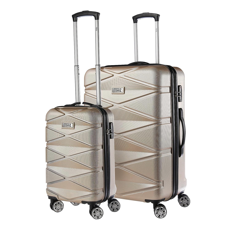 Travelz Diamond - Luxuriö ses Kofferset - 2-teilig - Trolleyset mit TSA Schloss - Koffer mit Doppelrä der und komplett gefü ttert (Champagner)