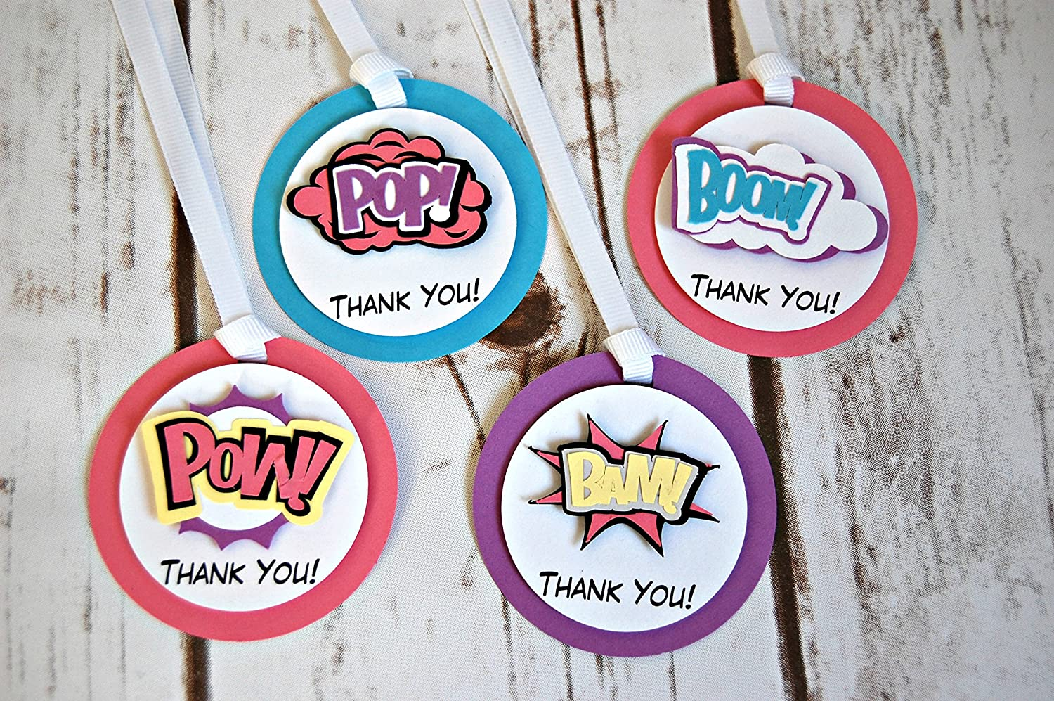 12 Superhero Words TATTOOS Party Favors Supplies for Birthday Loot Treat Bags