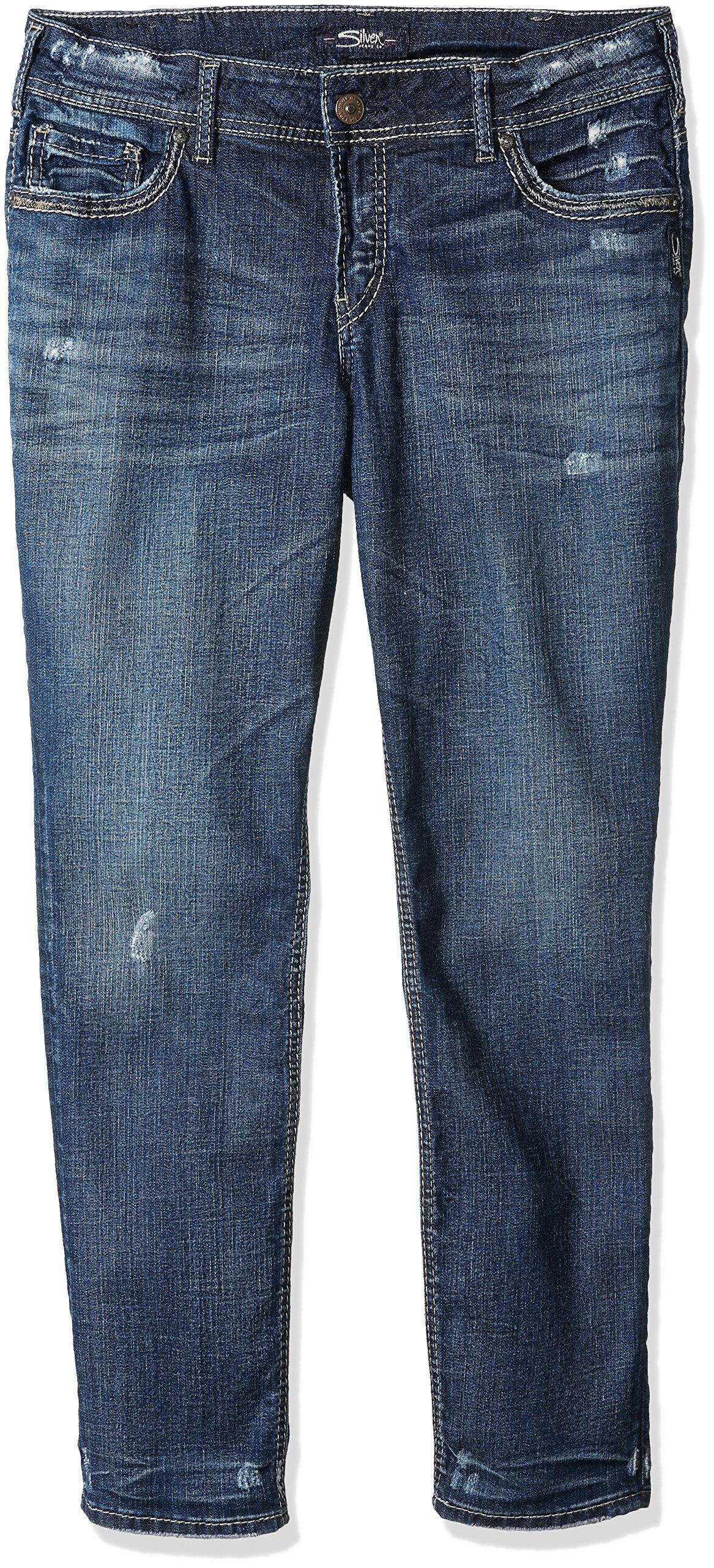Silver Jeans Women's Plus Size Suki Curvy Fit Mid-Rise Ankle Slim Jeans, Dark Vintage Wash, 18