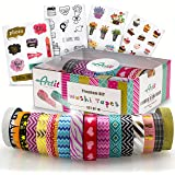 ARTIT Washi Tape Set 16 Extra Long (33 Feet) Decorative Craft Duct Masking Rolls Kit Scrapbooking DIY Foil Glitter Patterned Solid Colored Gold Sticky Adhesive Includes 4 Bonus Sticker Pages