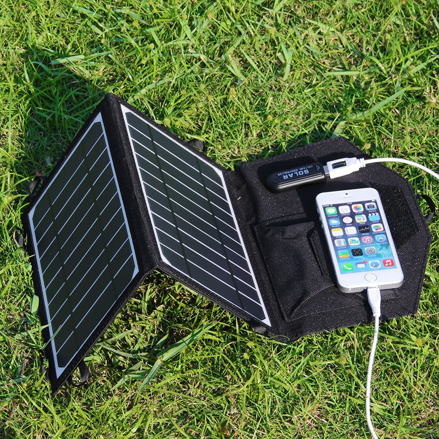 0a9ffb48864 Amazon.com  KINGSOLAR trade  Camping Hiking Backpacking Portable 8W Solar  Panel Foldable solar charger(Black)  Cell Phones   Accessories