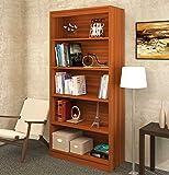 "Bluewud Alex Wall Book Shelf / Home Decor Display & Storage Rack Cabinet Unit (Walnut, 5 Shelves, 65""x31.5"")"