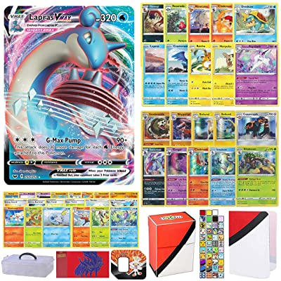 Totem World Sword and Shield Pokemon VMAX Card Ultra Rare Guaranteed with 10 Rares, 10 Foil Holo, 40 Regular Cards, Totem Deck Box & Mini Binder Collectors Album in a Storage Case/Tin or Box: Toys & Games