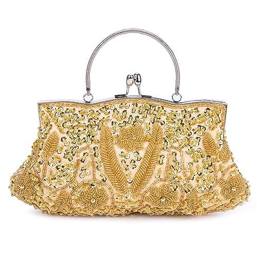 Kisschic Bolso de Clutch Bolso de Fiesta Boda Carteras de mano y clutches(dorado)