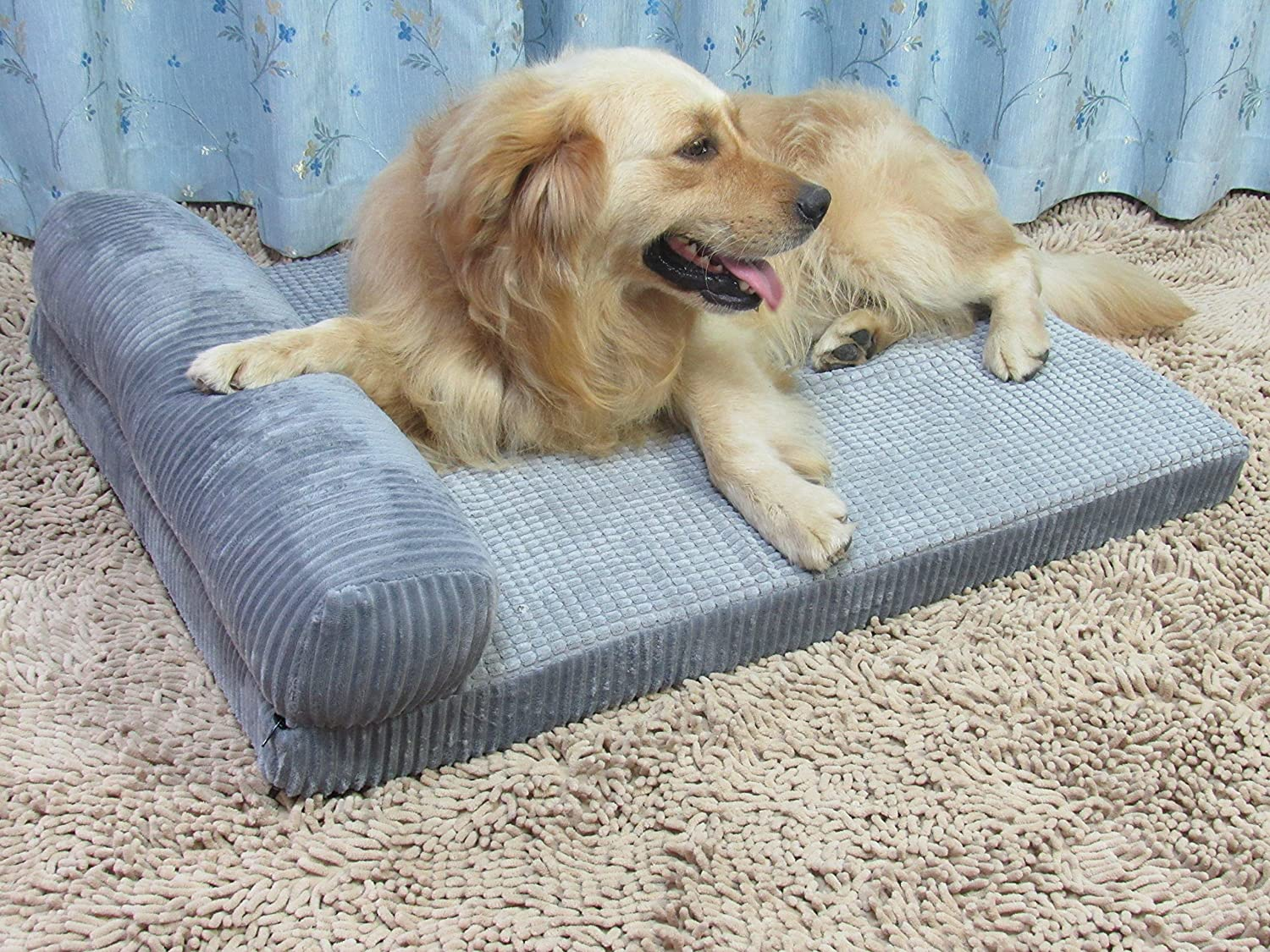 Detachable and Washable Premium Corduroy and Smooth Velveteen Fabric AcornPets/® B-1312 Deluxe Extra Large Grey 7 CM Extra Thickness Memory Foam Dog Sofa Bed Fleece 110 x 95 CM For Large Dogs