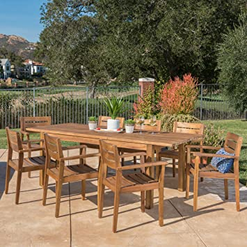 Great Deal Furniture William Outdoor 9 Piece Teak Finished Acacia Wood Dining  Set With Expandable Dining