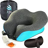 X-Go comp. TRAVEL NECK PILLOW SET - 100% Pure Memory Foam for Airplane and Car Travel Kit - 360 Head & Neck Support - With Ultra 100% Cotton Cover Machine Washable, Sleep Mask and Earplugs Accessories
