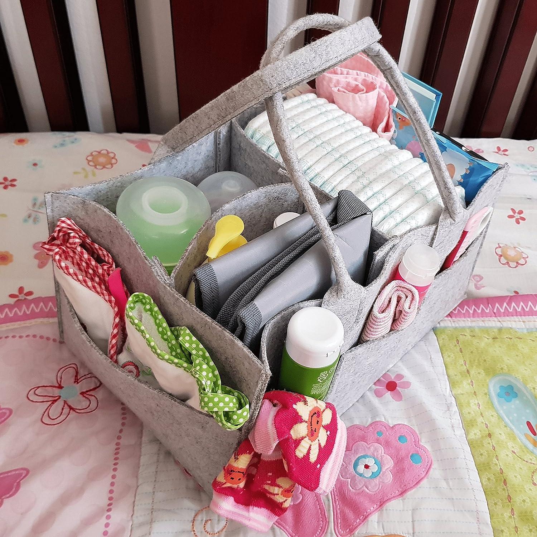 Gray Diaper Caddy Organizer Portable Nursery Storage Bin /& Diapers Holder