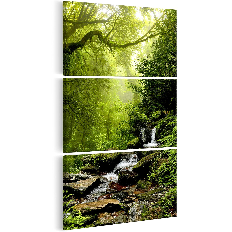 decomonkey Bilder Wald 90x180 cm 3 Teilig Leinwandbilder Bild auf Leinwand Wandbild Kunstdruck Wanddeko Wand Wohnzimmer Wanddekoration Deko Bäume Fluss Wasser Natur grün