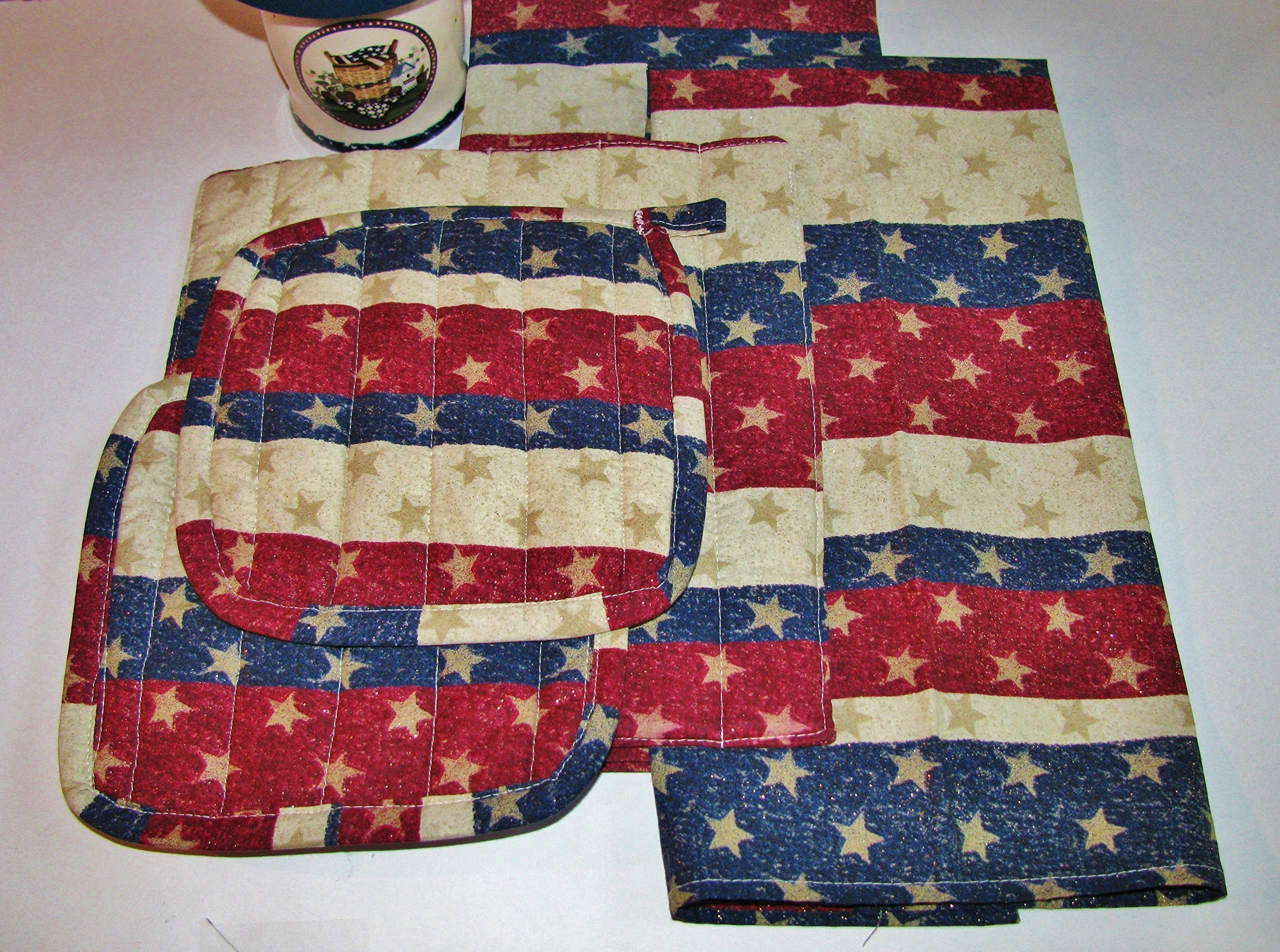Stars & Stripes Kitchen Linens Set (5 Pieces Total) by Country Kitchen Linens
