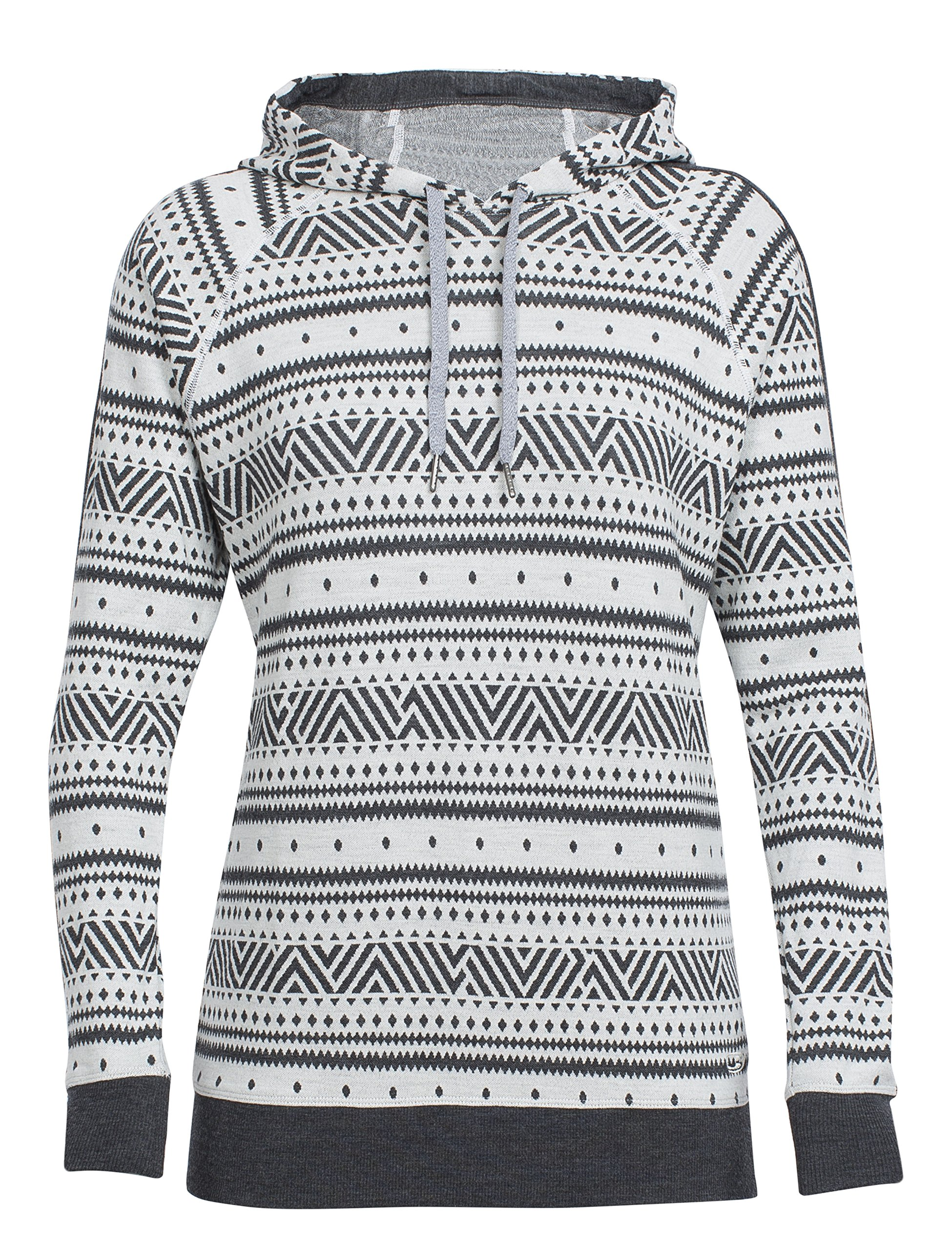 Icebreaker Merino Women's Meadow Icon Fairisle Long Sleeve Hoodie, Snow/Jet Heather/Snow, Small