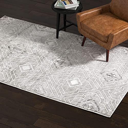 Rivet Contemporary Polyester Area Rug, 5 x 8 Foot, Silver, Grey, White