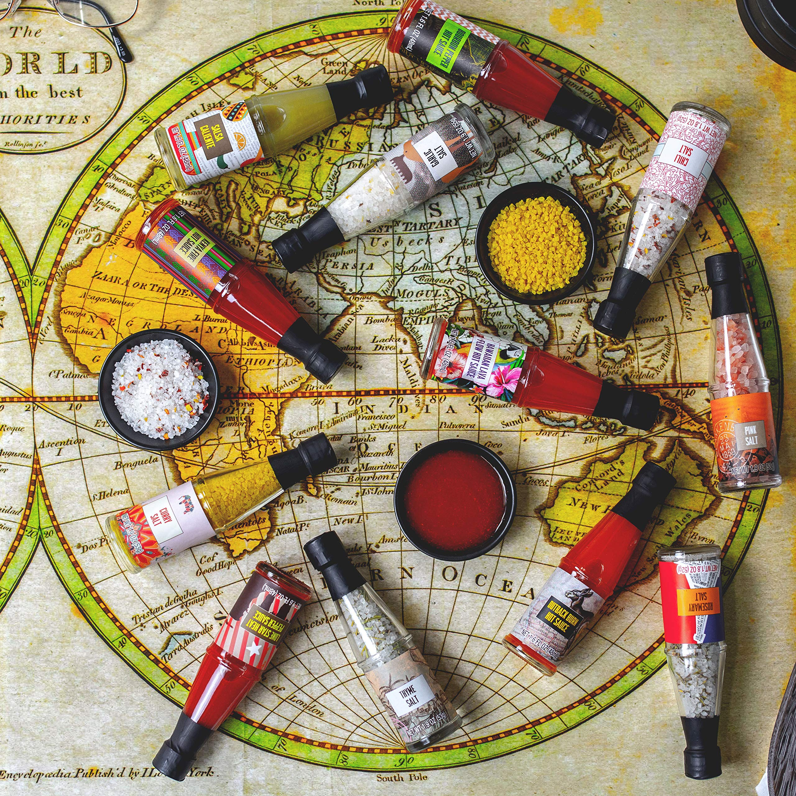 Thoughtfully Gifts, Global Spice and Salt Gift Set, Set of 12 Unique Flavors, 1.6 to 1.9 Ounces Each