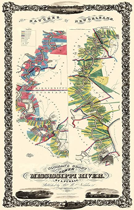 Amazon Com Old State Map Mississippi River Louisiana Landowner