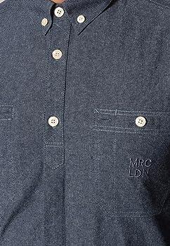 Merc Canal - Camisa de Trabajo de Manga Larga con Bolsillo en el Pecho y Cuello con Botones Azul M: Amazon.es: Ropa y accesorios