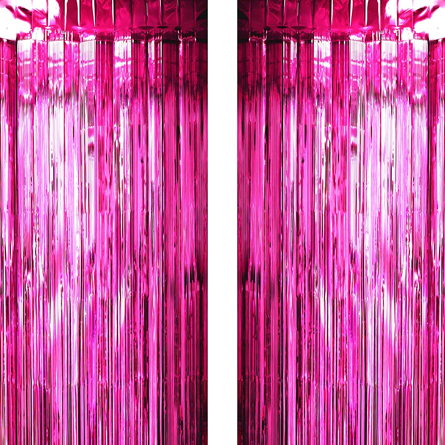Hot Pink Tinsel Foil Fringe Curtains Decorations - Bachelorette Wedding Bridal Shower Girls Baby Shower Birthday Summer Party Photo Backdrops Props Decorations, 2pc