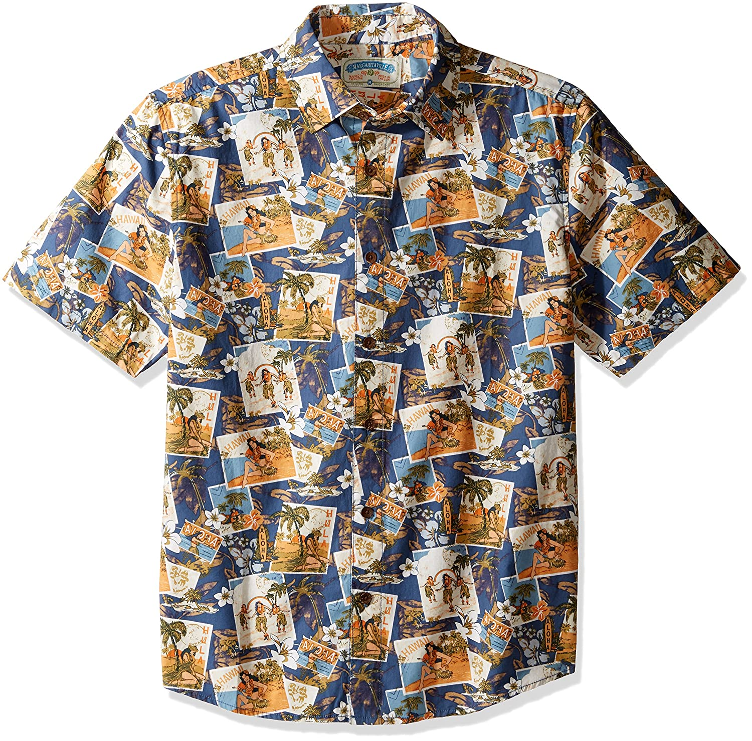 Margaritaville Mens Relaxed Fit Short Sleeve 100/% Cotton BBQ Shirt